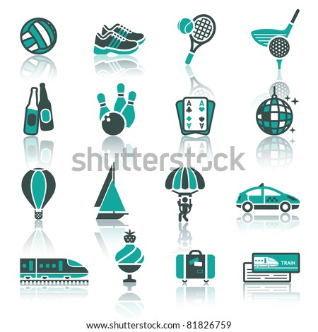 Vacation, Recreation & Travel, icons set. Sport, Tourism with reflection - stock vector
