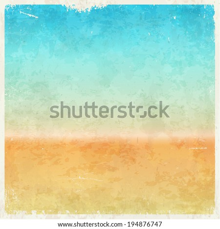 Vacation themed grungy retro abstract vector background - stock vector