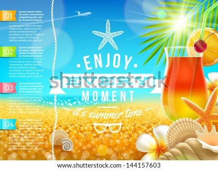 Vacation, travel and summer holidays vector design - stock vector