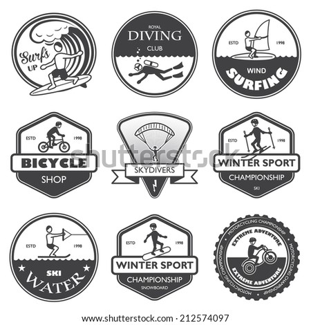 Vacation travel extreme sports labels set of rafting cross country climbing and snowboard vector illustration - stock vector