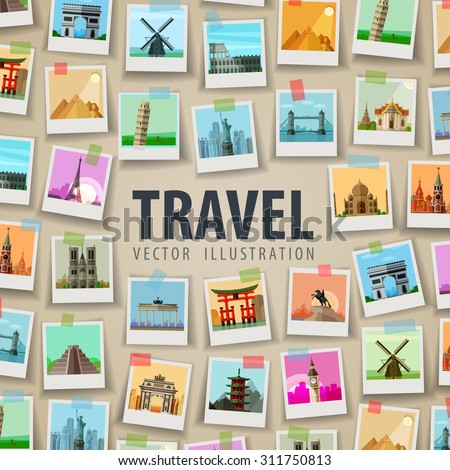 vacation, travel. historic architecture of the world - stock vector