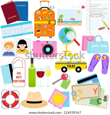 Vacation - Travel vector icons / symbol collection - stock vector
