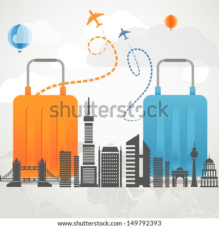 Vacation travelling composition concept with two bags and silhouette of a modern city - stock vector
