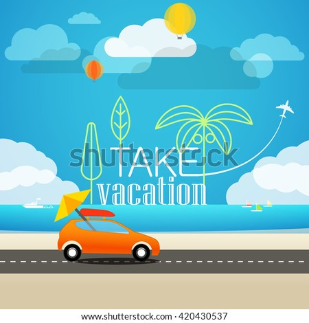 Vacation travelling concept. Flat design illustration - stock vector