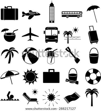 vacations symbols set - stock vector