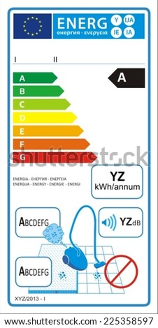 Vacuum cleaners for carpet new energy rating graph label - stock vector