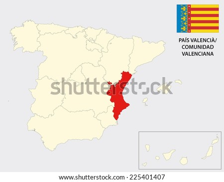 valencian community map with flag - stock vector