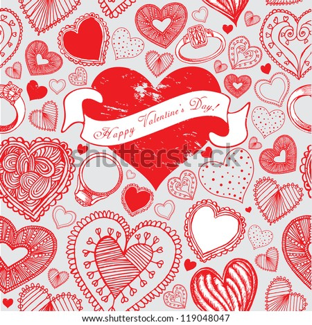 Valentin`s Day Card. Vector Illustration - stock vector