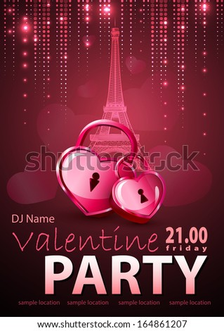 Valentine background. Disco poster - stock vector