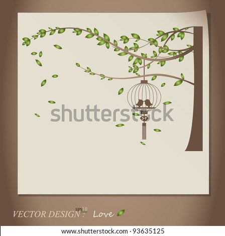 Valentine background with tree, bird and bird cage. Vector Illustration. - stock vector