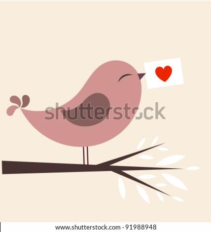 Valentine bird with card. Vector illustration - stock vector
