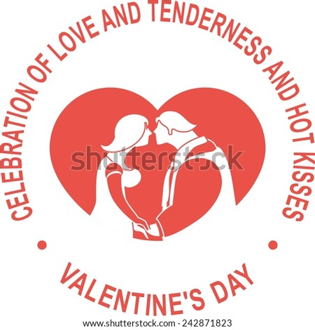 Valentine card for the holiday round shape inside the heart and kissing man and woman around the text on a white background - stock vector
