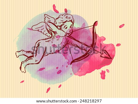 Valentine card with Cupid. Vector illustration - stock vector