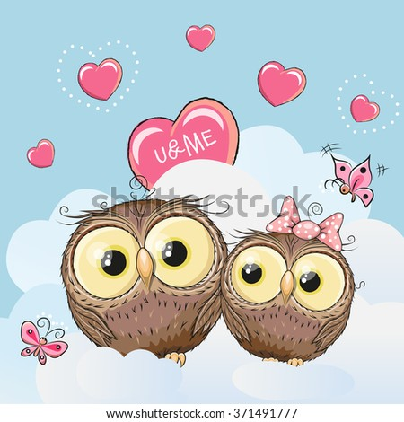 Valentine card with Cute Cartoon Lovers Owls - stock vector