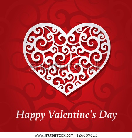 Valentine Card With Decorative Heart - stock vector