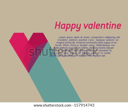 Valentine card with effect of red paper heart, vector eps10 illustration on grey background. - stock vector
