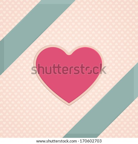 Valentine card with hearts on a light background with small hearts - stock vector