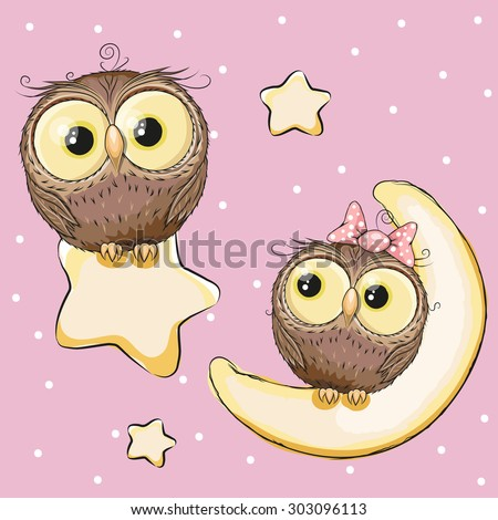 Valentine card with Lovers Owls on a moon and star - stock vector