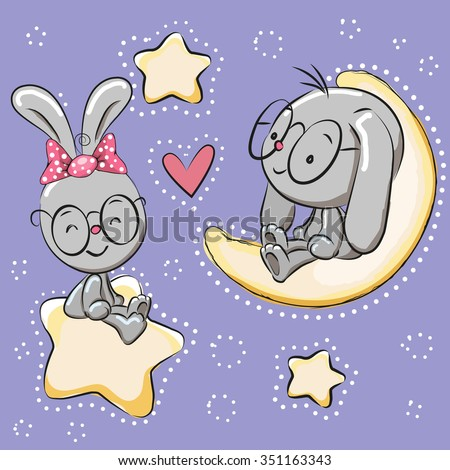 Valentine card with Lovers Rabbits on a moon and star