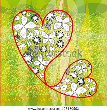 Valentine Card with Two Connected Hearts, Butterflies and Flowers - stock vector
