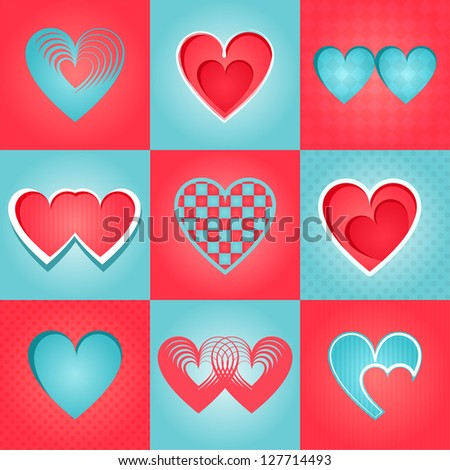 Valentine cards - stock vector