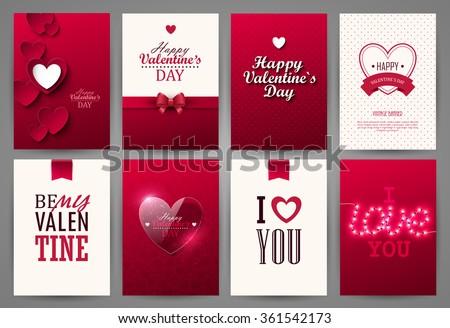 Valentine cards set. Vector illustration. - stock vector