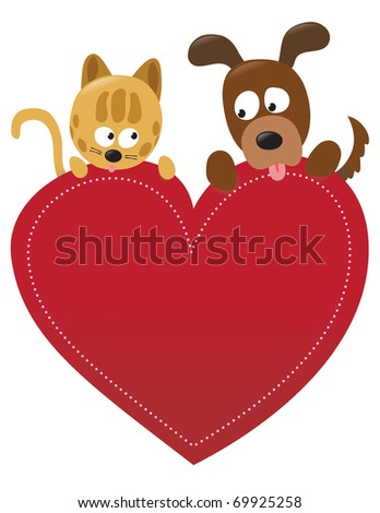 Valentine cat and dog - stock vector