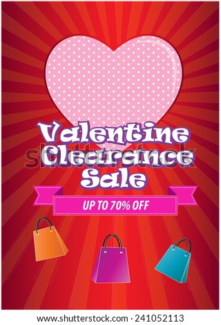 Valentine Clearance Sale illustration, for poster, brochure and internet content. - stock vector