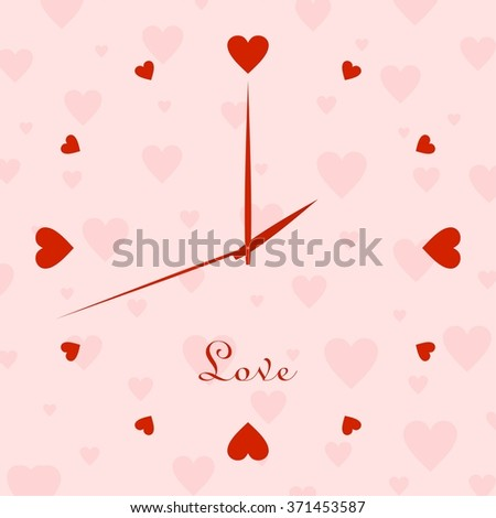 Valentine clock with dial of a red hearts with the hour hands and the second hand with a pink background with a pink hearts with the word love - stock vector