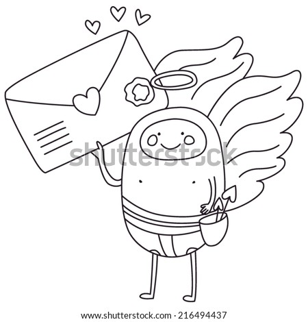 Valentine Cute Mail Cupid. Black Outline on  White Background. Good for Valentine Invitations, Party Invitations, Valentine Cards, etc. Eps 8 - stock vector