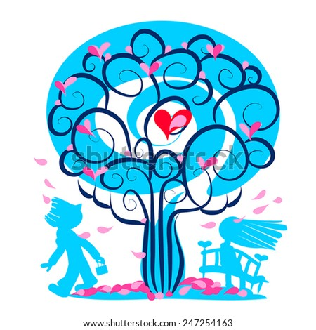 Valentine day beautiful love card. First date illustration. Blue tree with hearts, petals  fall,girl or women and man look at her. Fall in love. Vector silhouettes. Romantic couple. Eps 10. On white. - stock vector