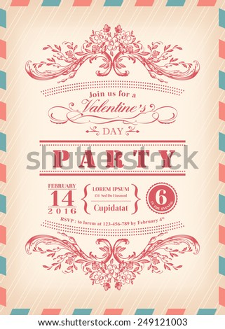 Valentine day card party invitation with vintage frame and airmail border - stock vector