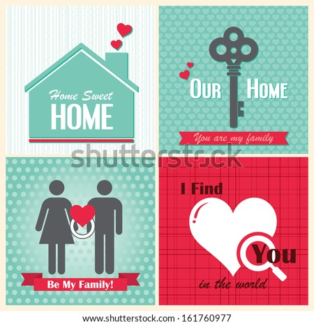 Valentine Day day cards vintage retro type font  - stock vector