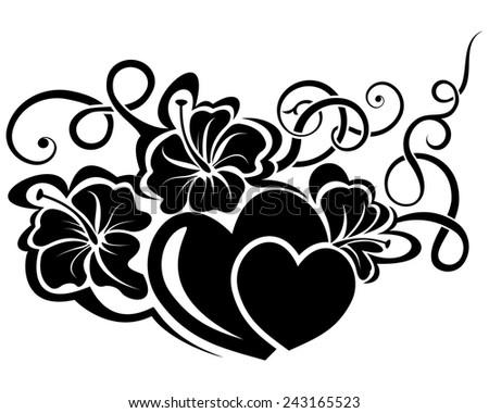 valentine day floral design element - stock vector