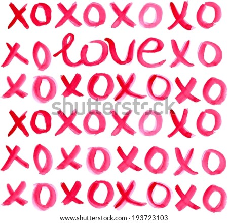 Valentine Day Heart and watercolor lettering LOVE xoxo in red over light background, VECTOR - stock vector