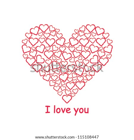 valentine day heart beautiful background - stock vector
