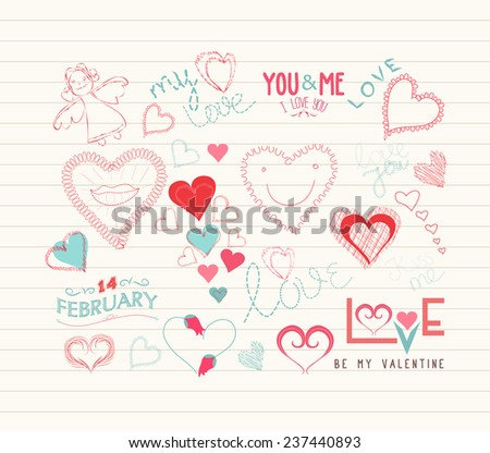 valentine day Love hearts doodle decoration - stock vector