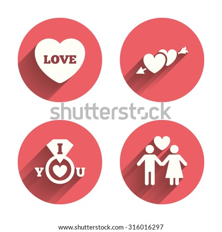 Valentine day love icons. I love you ring symbol. Couple lovers sign. Pink circles flat buttons with shadow. Vector - stock vector