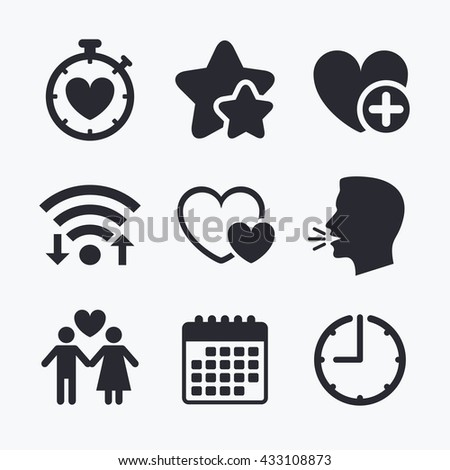 Valentine day love icons. Love heart timer symbol. Couple lovers sign. Add new love relationship. Wifi internet, favorite stars, calendar and clock. Talking head. Vector - stock vector