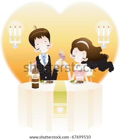 Valentine day Lovers - sitting an attractive woman and young man toast in the romantic restaurant on happy anniversary on white background with big heart frame : vector illustration - stock vector