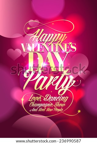 Valentine day party design with pink bokeh hearts backdrop. - stock vector