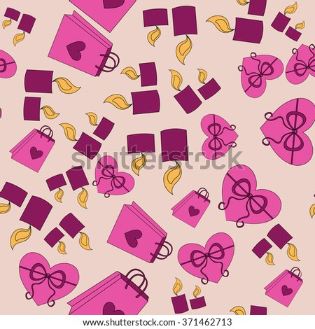 Valentine Day pink pattern with pink background - stock vector