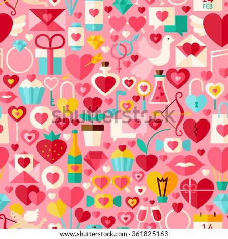 Valentine Day Pink Seamless Pattern. Love Flat Design Vector Illustration. Tile Background. Set of Wedding Items. - stock vector