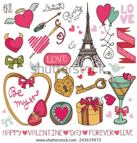 Valentine day,wedding,love,romantic elements collection.Frame,ribbon,hearts,gift,Eiffel tower,glass,ring.Cute Doodle hand drawing decor set.Vintage vector.Retro style - stock vector