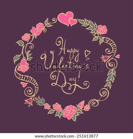 Valentine Flower Wreath. Vector Illustration. - stock vector