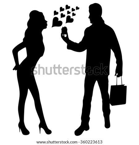 Valentine Gift. Happy Young Couple with Valentine's Day Present isolated on a White background. Happy Man giving a gift to his Girlfriend. Holiday - stock vector
