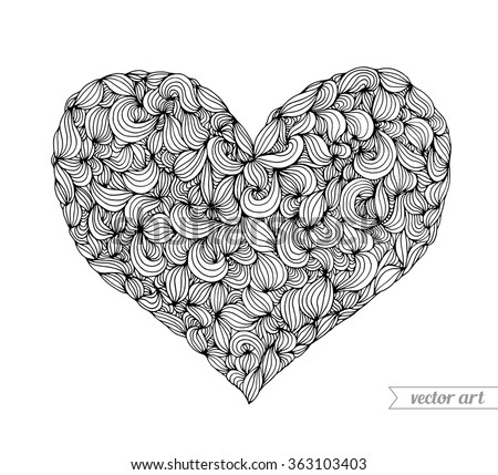 Valentine heart, doodle pattern. Vector. Hand drawn artwork. Love bohemia concept for wedding invitation, card, ticket, branding, boutique logo label. Gift for young girl and women. Black and white - stock vector