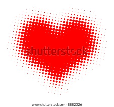 Valentine Heart Halftone Vector Illustration - stock vector