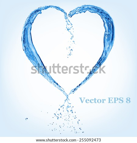 Valentine heart made of blue water splash, vector illustration EPS 8. - stock vector