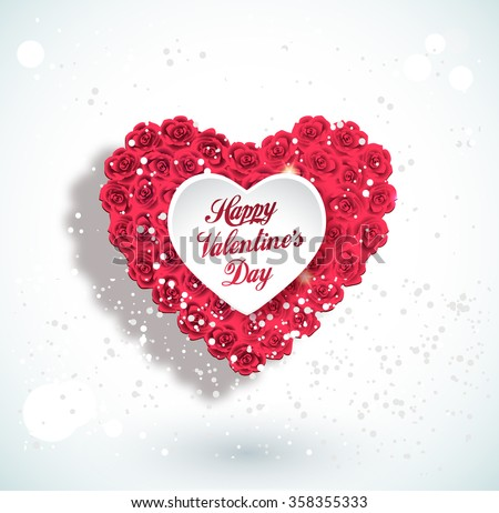 Valentine heart made of roses, vector greeting card - stock vector